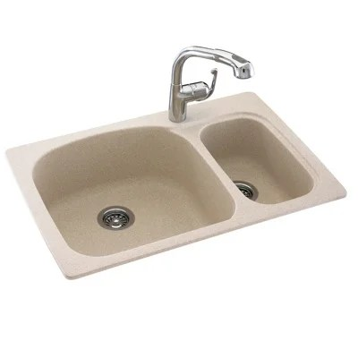Swanstone Classics Large Small Double Bowl Kitchen Sink