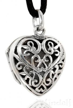 Elfen FotoMedaillon  LEONI  h 26 cm  Liebes Herz mit Fach  Vintage Silber  Silber und