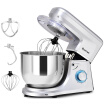 6 Speed 75 Qt Tilt-Head Stainless Steel Electric Food Stand Mixer-Silver