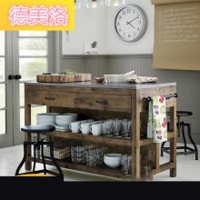 kitchen island counter vintage sink 厨房柜台 新款 厨房柜台2019年新款 京东 美式复古实木餐边柜创意厨房中岛操作台料理台客厅备
