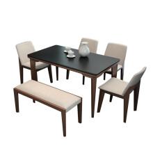 benches for kitchen table modular outdoor 餐桌长凳 型号 餐桌长凳型号 规格 京东 火烧石餐桌现代简约火山石餐桌椅组合长方形北欧实木大理石餐桌