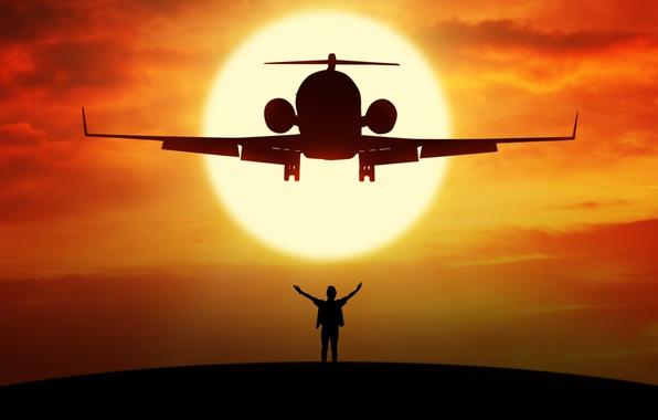 Fall Dog Wallpaper Wallpaper Flight The Plane Height Silhouette Airplane