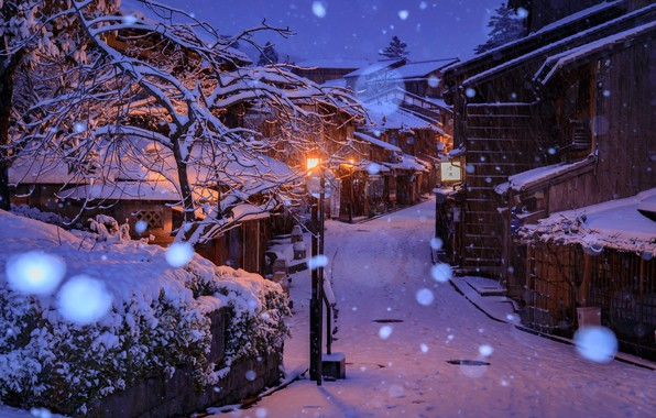 Tablet Wallpaper Europe Fall Wallpaper Winter Snow Snowflakes Lights Street Home