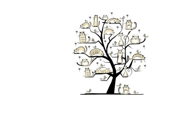 Wallpaper tree, spring, March, art, cat images for desktop