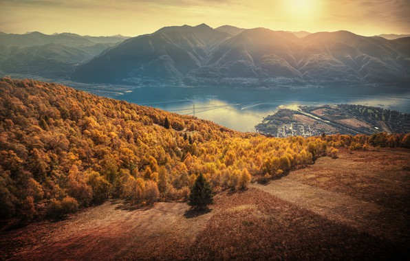 Free Fall Hp Widescreen Wallpapers Wallpaper Autumn Forest Sunset Mountains Lake