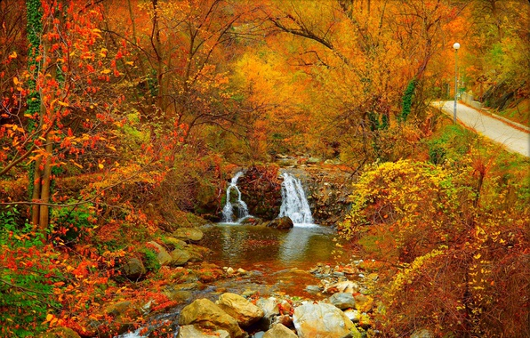 Fall Leaves Wallpaper Windows 7 Wallpaper Stream Waterfall Autumn Stones Fall Foliage
