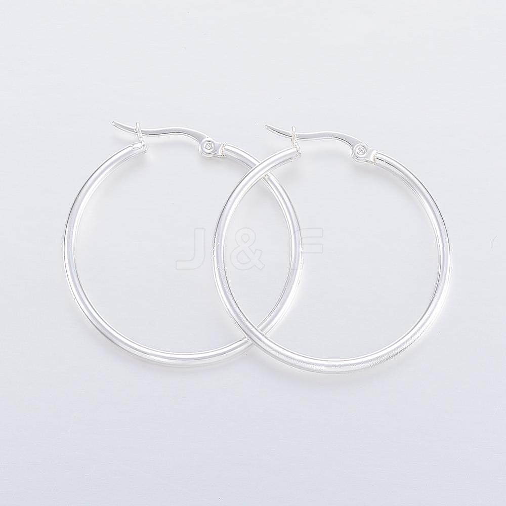 Wholesale 304 Stainless Steel Hoop Earrings, Silver