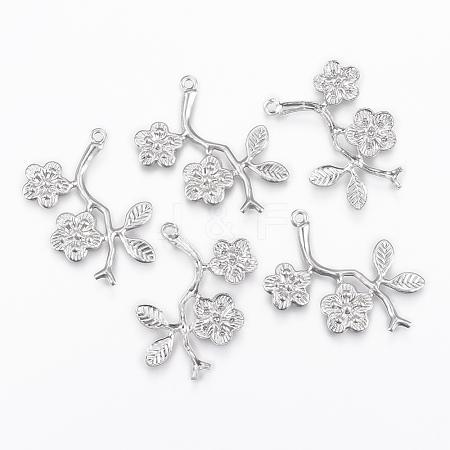 Wholesale 304 Stainless Steel Pendants, Plum Blossom