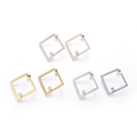 Wholesale 304 Stainless Steel Stud Earrings, with