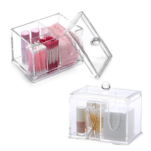 【美得像專櫃】棉花棒收納盒(功能化妝棉刷具收納櫃 口紅飾品粉撲保養品化妝品收納 壓克力化妝盒飾品盒)