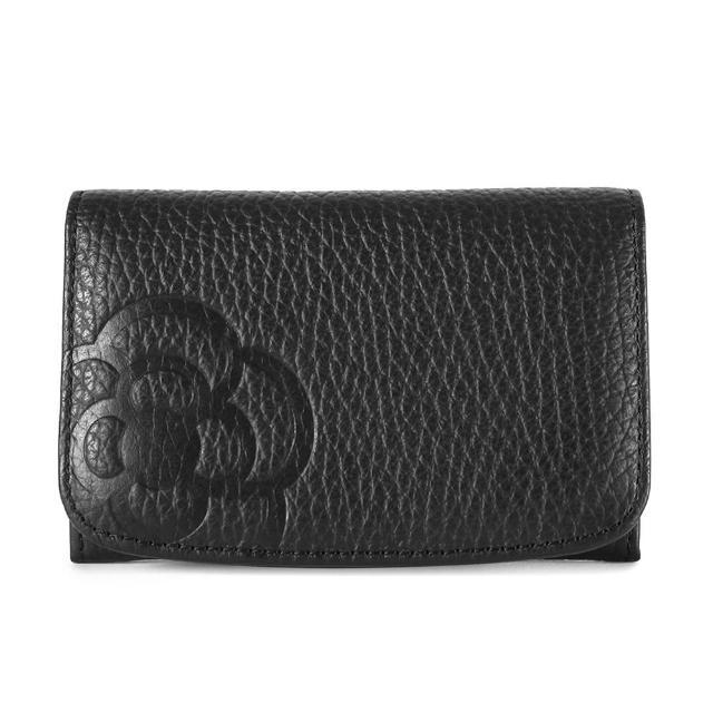 【CLATHAS】山茶花壓印質感軟皮證件名片夾(黑色)
