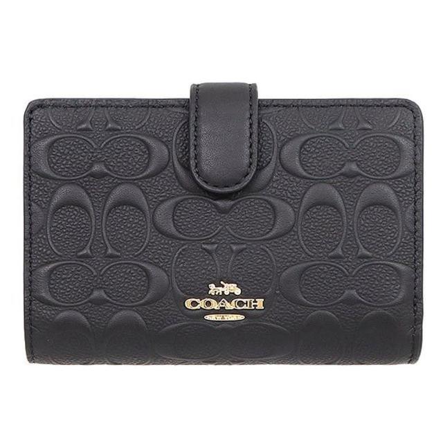 【COACH】黑色浮雕LOGO皮革拉鍊袋中夾