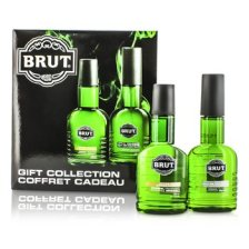 Faberge Brut Coffret: Eau De Cologne Spray 100ml + After Shave Lotion 100ml (Plastic Bottles) 2pcs