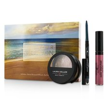 Laura Geller Get Your Glow On (A Full Bronzed Beauty Kit): 1x Blush n Glow, 1x I Care Waterproof Eyeliner, 1x Color Drenched Lip Gloss 3pcs