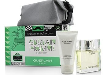 Guerlain Homme L'Eau Boisee Coffert: Eau De Toilette Spray 80ml/2.7oz + Hair and Body Wash 75ml/2.5oz + pouch 2pcs+pouch