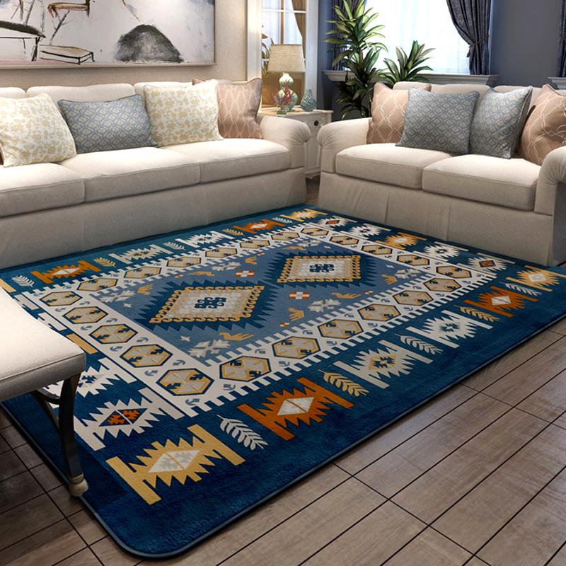 blue kitchen rugs cupboard knobs 地中海风蓝色地毯 爱淘网