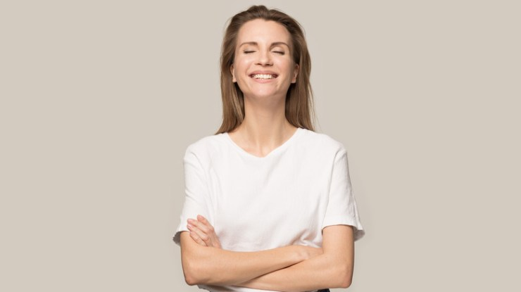 woman in love smiling