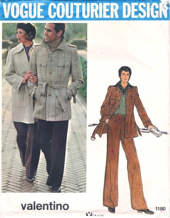 1970s Valentino men's jacket and pants pattern - Vogue 1180