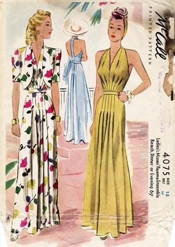 1940s pajama ensemble pattern - McCall 4075