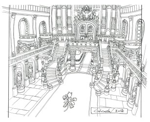throne castle fantasy room lindblum hallway ff9 final sketch concept game wikia 배경 판타지 environment rpg reference finalfantasy perspective conceptual