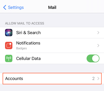In Mail, tap Accounts