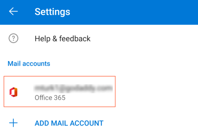New Microsoft 365 email account displays in Settings