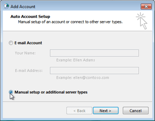 Outlook 2013 Manually Set Up Email