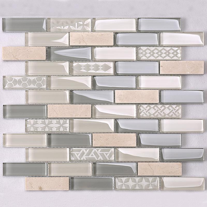 beige glass stone mosaic kitchen strip