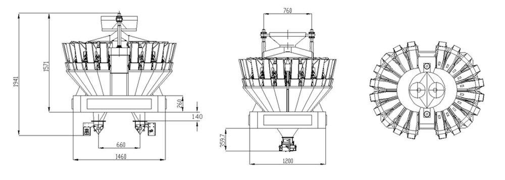 Find Smart Weigh Twin Discharge 20 Head Multihead Weigher