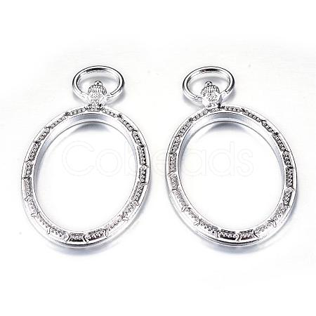 Rack Plating Alloy Open Back Bezel Big Pendants, For DIY