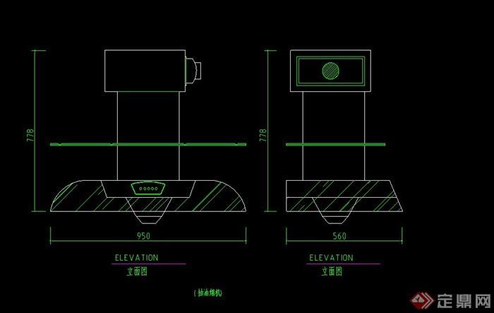 kitchen hood design cabinet installation tools 某现代室内抽油烟机设计cad立面图 1