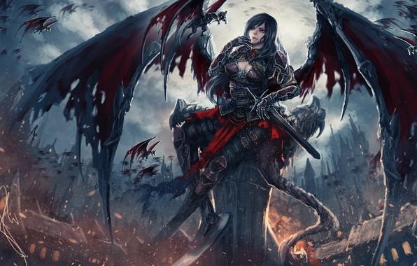 Badass Mage Girl Wallpaper Wallpaper World Dark Sword Fantasy Magic Armor Sky