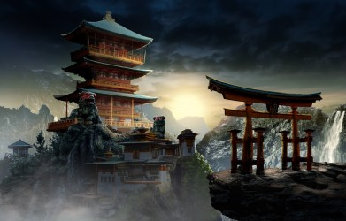 temple concept mysterious fantasy architecture oriental arch palace background koo china wallpapers landscape building johnpaul mountains asia вконтакте telegram