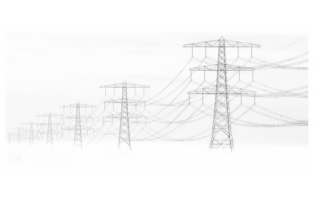 Wallpaper fog, background, power lines images for desktop