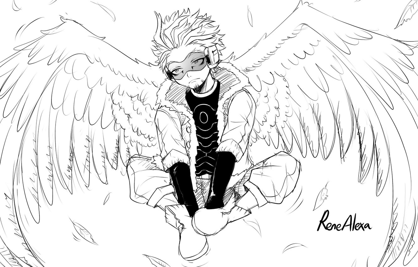 Wallpaper wings, angel, art, guy, black and white, My Hero