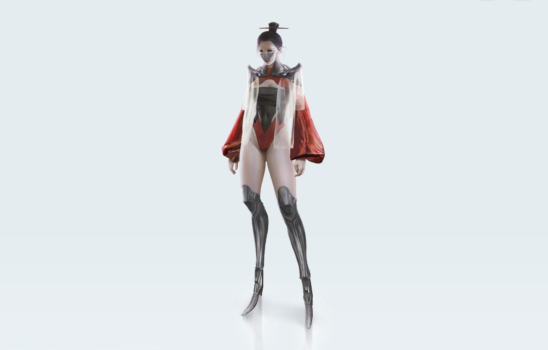 Wallpaper Girl, Minimalism, Robot, Girl, Background
