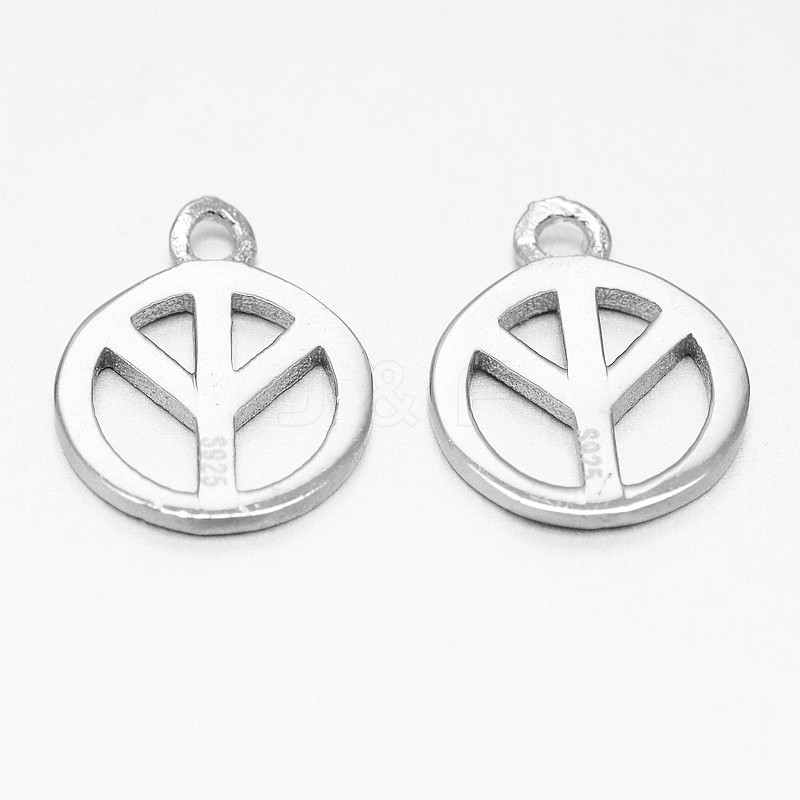 Wholesale 925 Sterling Silver Peace Sign Charms, Platinum