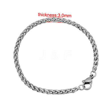 Wholesale 316 Stainless Steel Wheat Chain Bracelets, with