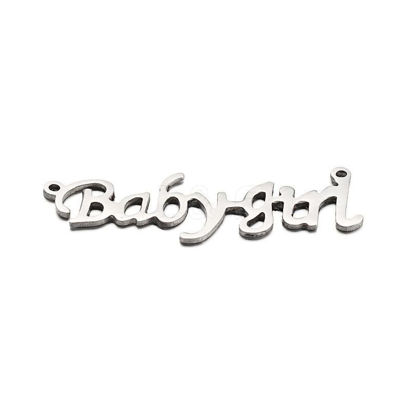 Wholesale 304 Stainless Steel Pendants, Word Babygirl