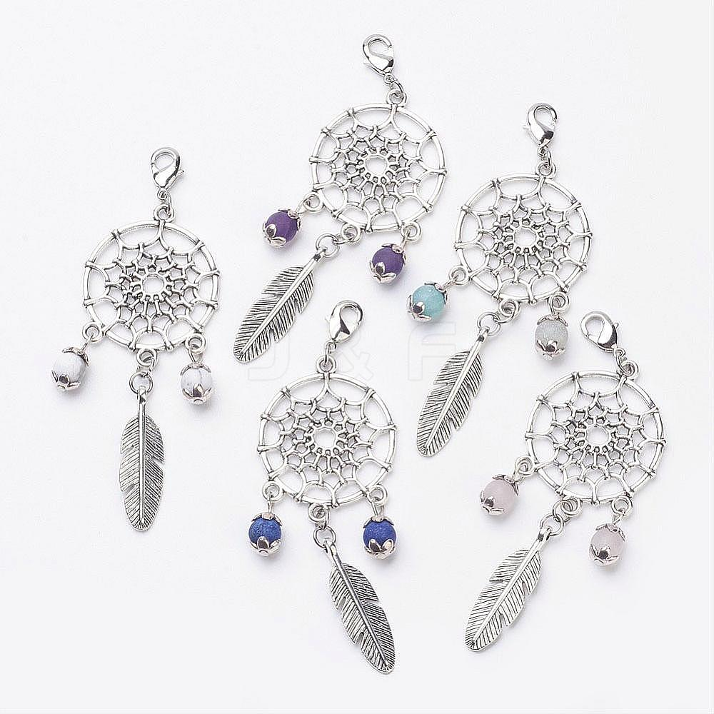 Wholesale Alloy Feather Pendants, with Gemstone Beads and