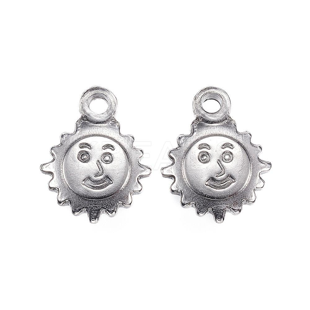 Wholesale 304 Stainless Steel Charms, Sun, Stainless Steel