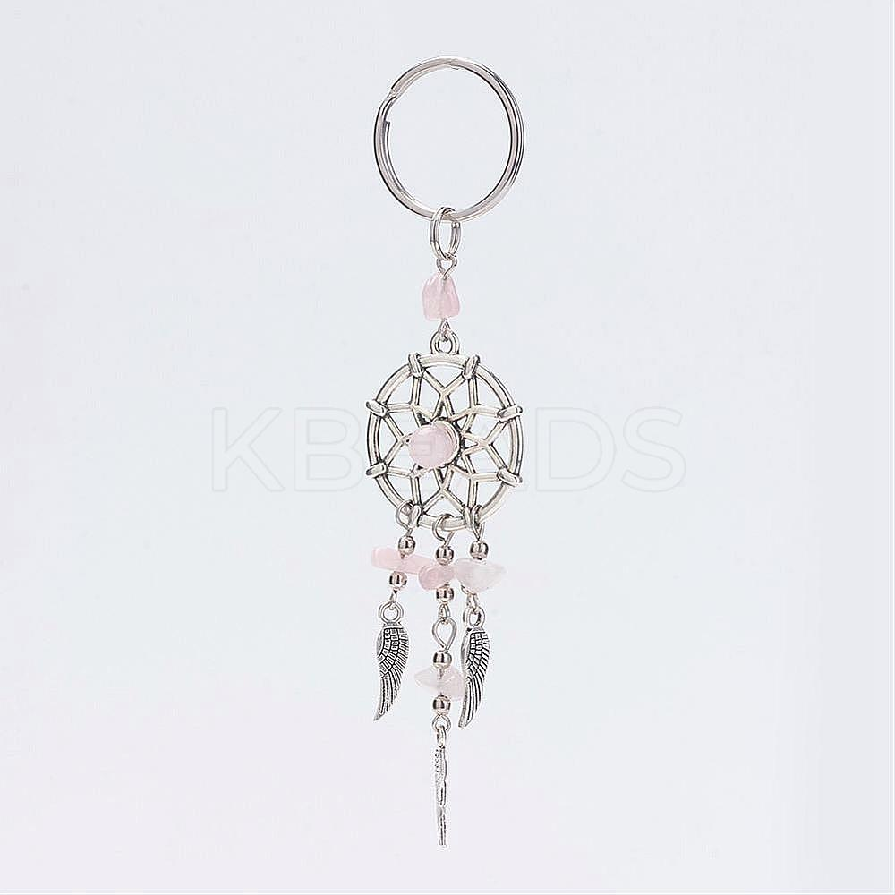 Wholesale Dream Catcher Alloy Key Chains, with Natural