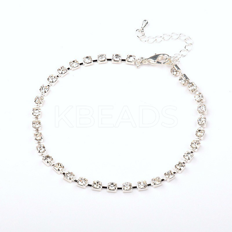 Wholesale Silver Plated Brass Rhinestone Cup Chain Ankle