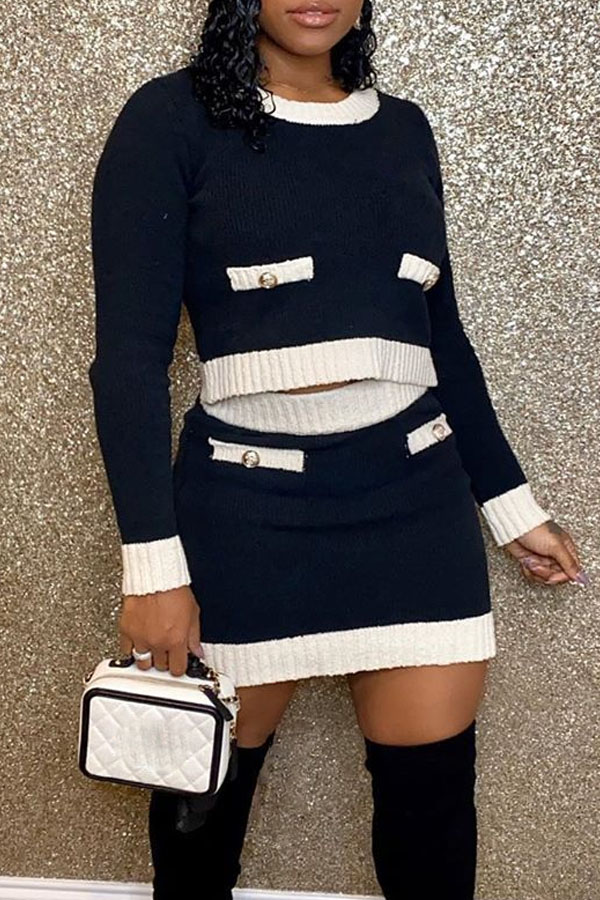 The black Friday sale at Lovely Wholesale - casual o neck black two-piece skirt set