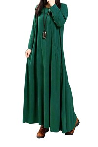 Cotton Fashion O neck Long Sleeve Ankle Length Dresses ...