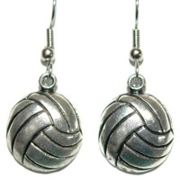 SILVER TONE VOLLEYBALL PIERCED or CLIP ON DANGLE EARRINGS ...
