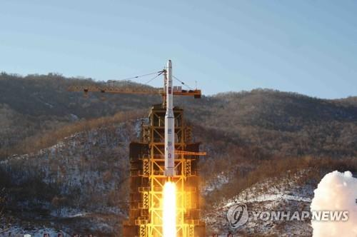 This file photo shows North Korea test-firing a long-range rocket from the Dongchang-ri launch site in North Pyongan Province in February 2016. Reports on June 21, 2018, said North Korean leader Kim Jong-un pledged to destroy the North's missile launch site soon while having a summit meeting with U.S. President Donald Trump in Singapore on June 12. (For Use Only in the Republic of Korea. No Redistribution) (Yonhap)