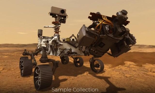 화서 탐사 로버 퍼서비어런스가 샘플을 채취하는 모습을 구현한 이미지. [출처=NASA 홈페이지, 재배부 및 DB 금지]