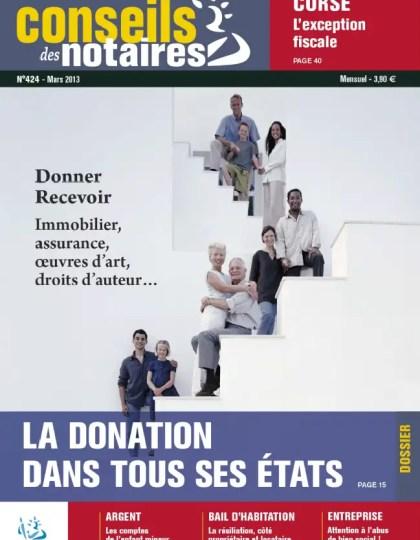 Conseils des Notaires N°424 Mars 2013