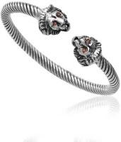 Taraash Antique Lionhead Sterling Silver Kada: Bangle Bracelet Armlet